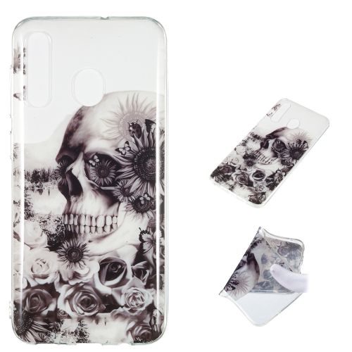 Black Flower Skull Pattern Highly Transparent TPU Protective Case for Galaxy A50