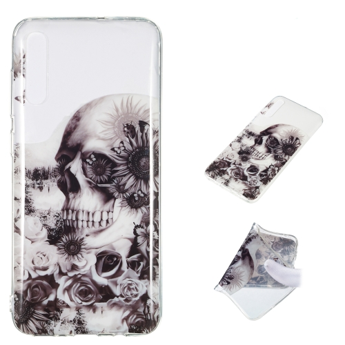 Black Flower Skull Pattern Highly Transparent TPU Protective Case for Galaxy A70