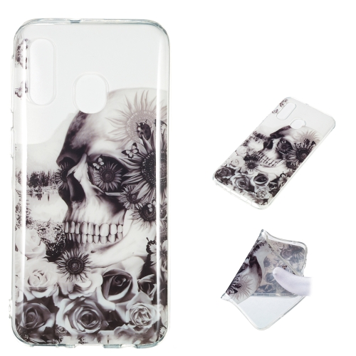 Black Flower Skull Pattern Highly Transparent TPU Protective Case for Galaxy A40