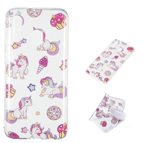 Unicorn Pattern Highly Transparent TPU Protective Case for Galaxy A40