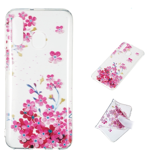 Red Plum Blossom Pattern Highly Transparent TPU Protective Case for Galaxy A40