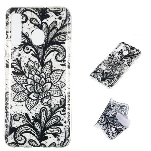 Black Flower Pattern Highly Transparent TPU Protective Case for Galaxy A50