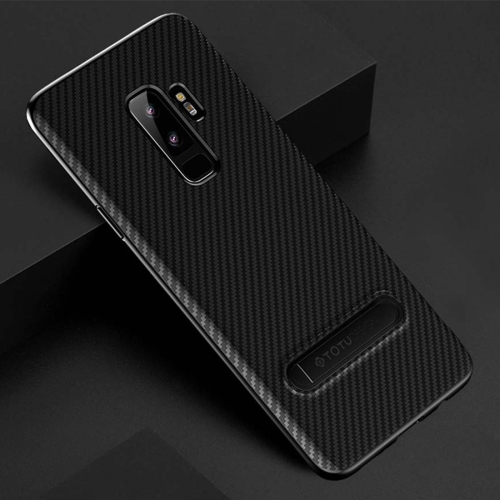 TOTUDESIGN Slim Series for Galaxy S9+ Carbon Fiber Texture TPU Protective Back Case with Holder (Black) rst bc1301 handy durable carbon fiber water bottle holder bracket for bicycle black