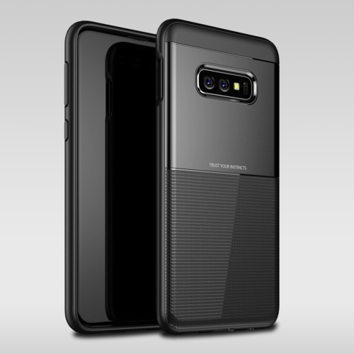 UNBREANK Carbon Fiber Texture PC + TPU Invisible Airbag Shockproof Protective Case for Galaxy S10 Lite (Black)