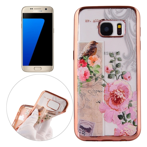 Buy For Samsung Galaxy S7 / G930 Bird And Flower Pattern Electroplating Frame Soft TPU Protective Case for $1.91 in SUNSKY store