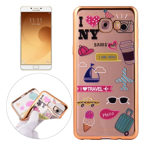 For Samsung Galaxy C9 Pro / C900 Living Group Pattern Electroplating Frame Soft TPU Protective Case