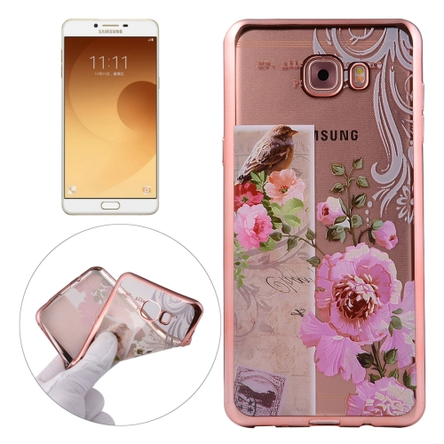 Buy For Samsung Galaxy C9 Pro / C900 Bird And Flower Pattern Electroplating Frame Soft TPU Protective Case for $1.91 in SUNSKY store