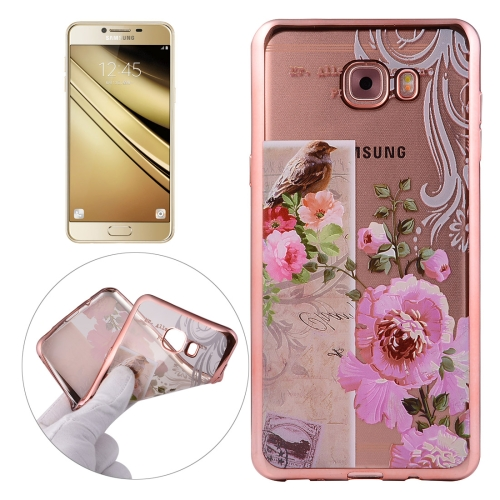 Buy For Samsung Galaxy C7 / C700 Bird And Flower Pattern Electroplating Frame Soft TPU Protective Case for $1.90 in SUNSKY store