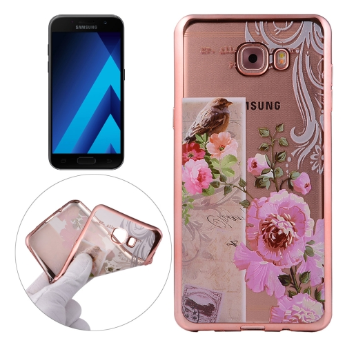 Buy For Samsung Galaxy A3, 2017 / A320 Bird And Flower Pattern Electroplating Frame Soft TPU Protective Case for $1.91 in SUNSKY store