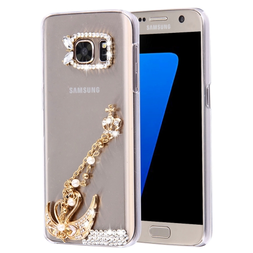 Buy For Samsung Galaxy S7 Edge / G935 Diamond Encrusted Pearl Swan Pattern Plastic Case for $2.06 in SUNSKY store