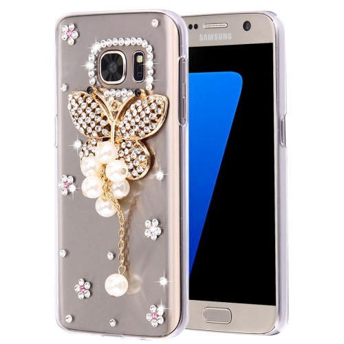 Buy For Samsung Galaxy S7 Edge / G935 Diamond Encrusted Pearl Butterfly Pattern Plastic Case for $2.06 in SUNSKY store