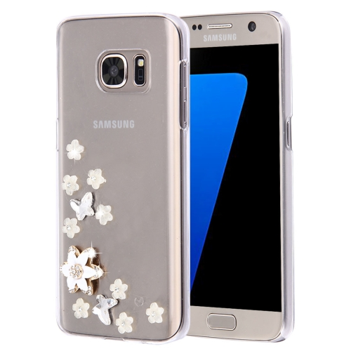 For Samsung Galaxy S7 Edge / G935 Diamond Encrusted Pearl Star Flowers Pattern Plastic Case