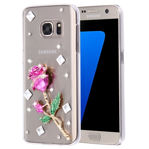 Buy For Samsung Galaxy S7 Edge / G935 Diamond Encrusted Pearl Rose Pattern Plastic Case for $2.06 in SUNSKY store