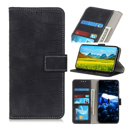 Crocodile Texture Horizontal Flip Leather Case for Galaxy A40, with Holder & Wallet & Card Slots & Photo Frame (Black)