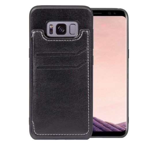 Simple Leather Texture TPU Magnetic Leather Case for Galaxy S8, with Holder & Card Slots & Wallet(Black)