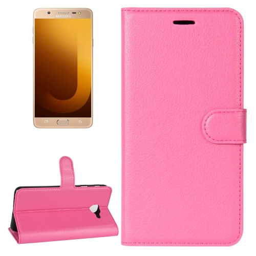 Buy For Samsung Galaxy J7 Max Litchi Texture Horizontal Flip Leather Case with Holder & Card Slots & Wallet, Magenta for $2.30 in SUNSKY store