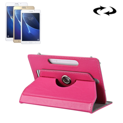 7 inch Tablets Leather Case Crazy Horse Texture 360 Degrees Rotation Protective Case Shell with Holder for Samsung Galaxy Tab A 7.0, 2016 / T280 & Tab 4 7.0 / T230 & Tab Q T2558, Colorfly G708, Asus ZenPad 7.0 Z370CG, Huawei MediaPad T1 7.0 / T1-701u, Magenta