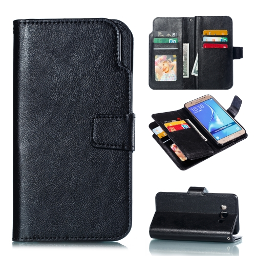 Litchi Texture Horizontal Flip Leather Case for Galaxy J510, with Holder & Nine Card Slots & Wallet(Black)