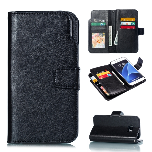 Litchi Texture Horizontal Flip Leather Case for Galaxy S7 Edge, with Holder & Nine Card Slots & Wallet(Black)