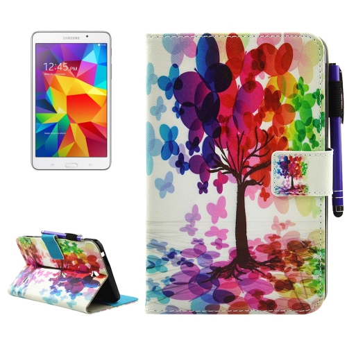 Buy For Samsung Galaxy Tab 4 7.0 / T230 Butterfly Tree Pattern Horizontal Flip Leather Case with Holder & Wallet & Card Slots & Sleep / Wake-up Function & Pen Slot for $4.42 in SUNSKY store