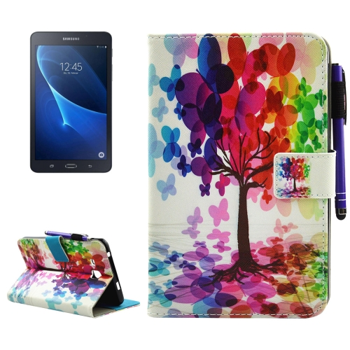 Buy For Samsung Galaxy Tab A 7.0, 2016 / T280 Butterfly Tree Pattern Horizontal Flip Leather Case with Holder & Wallet & Card Slots & Sleep / Wake-up Function & Pen Slot for $4.42 in SUNSKY store