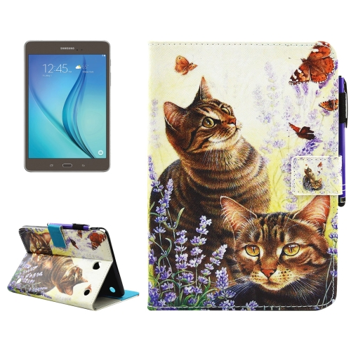 Buy For Samsung Galaxy Tab A 8.0 / T350 Cats and Butterflies Pattern Horizontal Flip Leather Case with Holder & Wallet & Card Slots & Sleep / Wake-up Function & Pen Slot for $4.42 in SUNSKY store