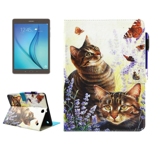 Buy For Samsung Galaxy Tab A 9.7 / T550 Cats and Butterflies Pattern Horizontal Flip Leather Case with Holder & Wallet & Card Slots & Sleep / Wake-up Function & Pen Slot for $4.74 in SUNSKY store