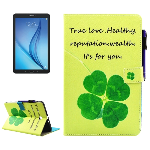 Buy For Samsung Galaxy Tab E 9.6 / T560 Lucky Clove Pattern Horizontal Flip Leather Case with Holder & Wallet & Card Slots & Sleep / Wake-up Function & Pen Slot for $4.74 in SUNSKY store