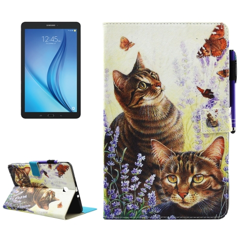 Buy For Samsung Galaxy Tab E 9.6 / T560 Cats and Butterflies Pattern Horizontal Flip Leather Case with Holder & Wallet & Card Slots & Sleep / Wake-up Function & Pen Slot for $4.74 in SUNSKY store