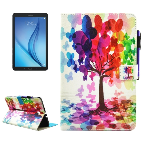 For Samsung Galaxy Tab E 9.6 / T560 Butterfly Tree Pattern Horizontal Flip Leather Case with Holder & Wallet & Card Slots & Sleep / Wake-up Function & Pen Slot