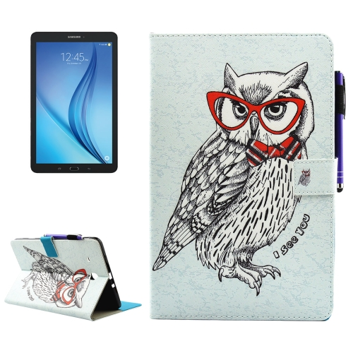 Buy For Samsung Galaxy Tab E 9.6 / T560 Glasses Owl Pattern Horizontal Flip Leather Case with Holder & Wallet & Card Slots & Sleep / Wake-up Function & Pen Slot for $4.74 in SUNSKY store