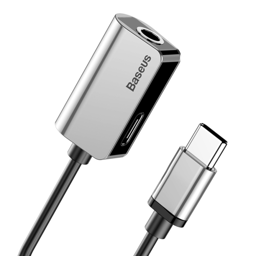 Baseus 2 in 1 Cable Fast Charge Type-C Male to Type-C Female + 3.5mm Female Jack Headphone Adapter Converter, Supports Audio and Charging, Length: 12cm(Silver)