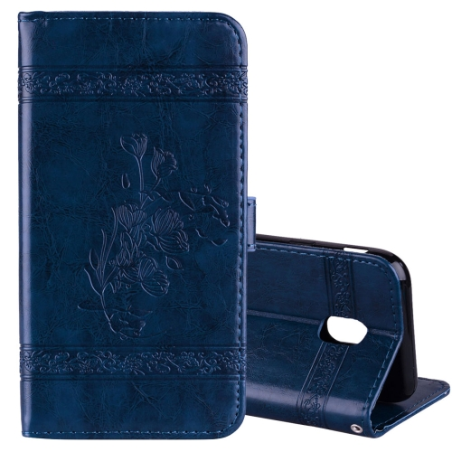 Buy For Samsung Galaxy J3, 2017 / J330  (EU Version) Retro Oil Wax Texture Embossed Horizontal Flip Leather Case with Holder & Card Slots & Wallet & Photo Frame, Blue for $2.92 in SUNSKY store