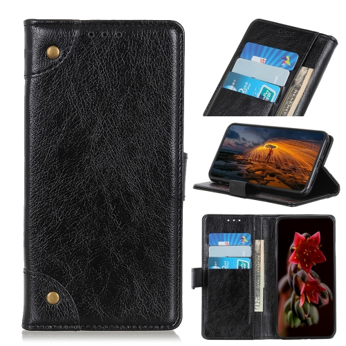 CUBOT Copper Buckle Nappa Texture Horizontal Flip Leather Case for Galaxy A50, with Holder & Card Slots & Wallet (Black)