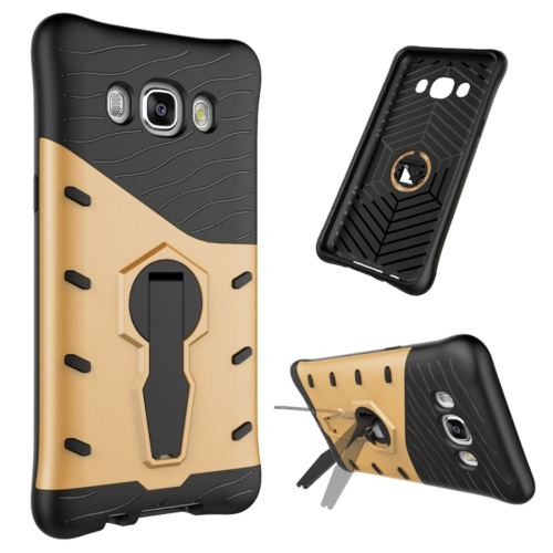 Buy For Samsung Galaxy J5, 2016 / J510 Shock-Resistant 360 Degree Spin Tough Armor TPU+PC Combination Case with Holder, Gold for $2.44 in SUNSKY store