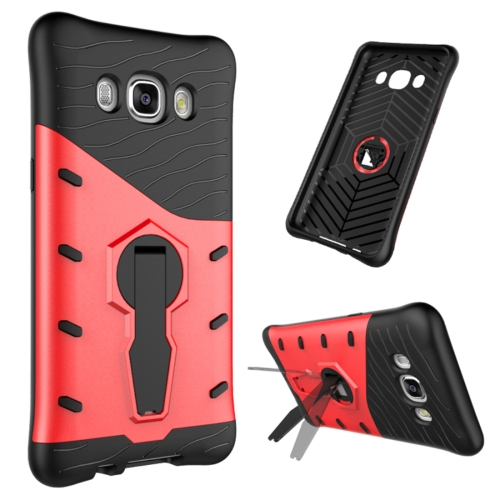For Samsung Galaxy J5, 2016 / J510 Shock-Resistant 360 Degree Spin Tough Armor TPU+PC Combination Case with Holder, Red