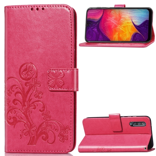 Lucky Clover Pressed Flowers Pattern Leather Case for Galaxy A50, with Holder & Card Slots & Wallet & Hand Strap (Rose Red)