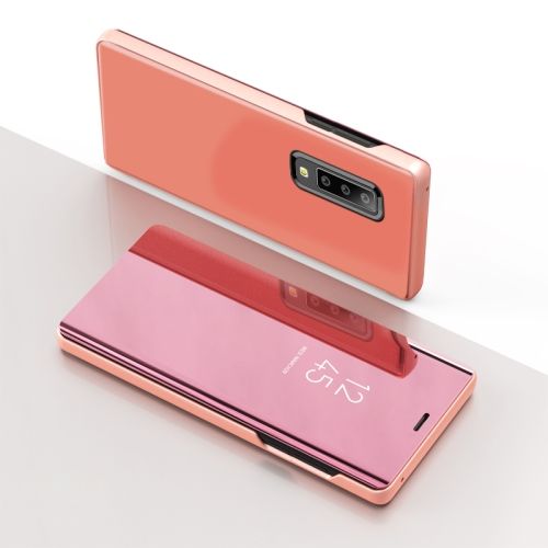 Electroplating Mirror Horizontal Flip Leather Case for Galaxy A50 , with Holder (Rose Gold)