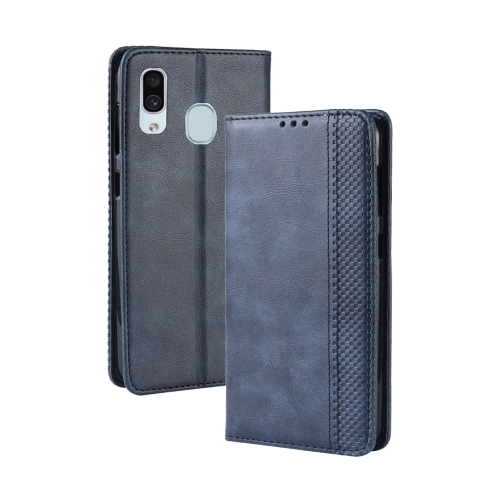 Magnetic Buckle Retro Crazy Horse Texture Horizontal Flip Leather Case for Galaxy A20/A30, with Holder & Card Slots & Photo Frame(Blue)