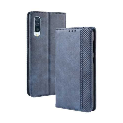 Magnetic Buckle Retro Crazy Horse Texture Horizontal Flip Leather Case for Galaxy A70, with Holder & Card Slots & Photo Frame(Blue)