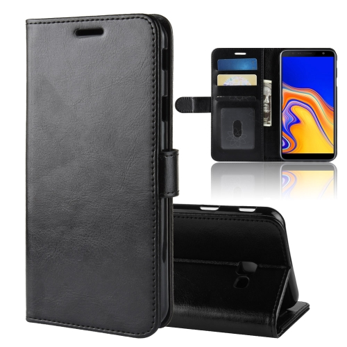 R64 Texture Single Fold Horizontal Flip Leather Case for Galaxy J4+, with Holder & Card Slots & Wallet(Black)