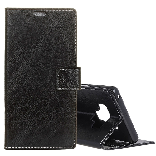 Retro Crazy Horse Texture Horizontal Flip Leather Case for Galaxy Note 9, with Holder & Card Slots & Photo Frame(Black) protective lychee pattern pu leather case w card slots holder for samsung galaxy note 3 black