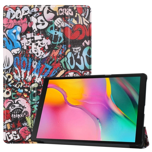 Custer Texture Graffiti Pattern Colored Drawing Horizontal Flip Leather Case for Galaxy Tab A 10.1 2019, with Three-folding Holder & Sleep / Wake-up Function
