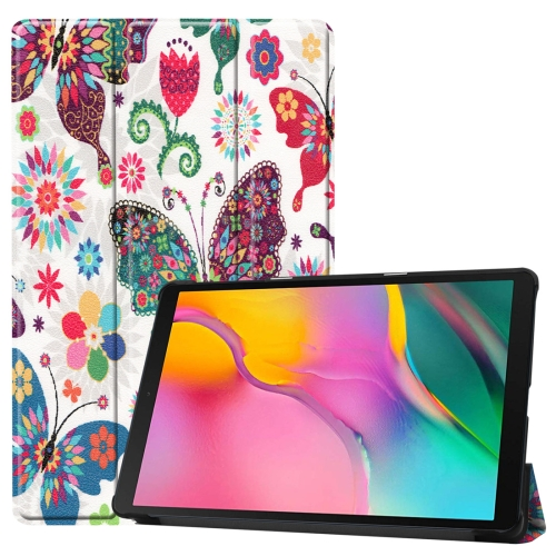Custer Texture Colorful Butterflies Pattern Colored Drawing Horizontal Flip Leather Case for Galaxy Tab A 10.1 2019, with Three-folding Holder & Sleep / Wake-up Function