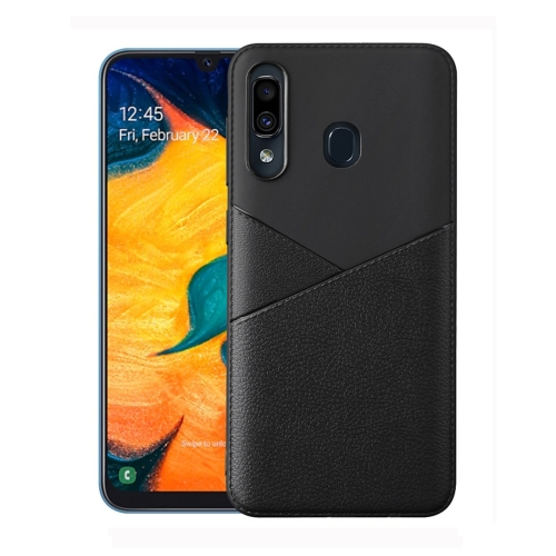 Ultra-thin Shockproof Soft TPU + Leather Case for Galaxy M20 (Black)