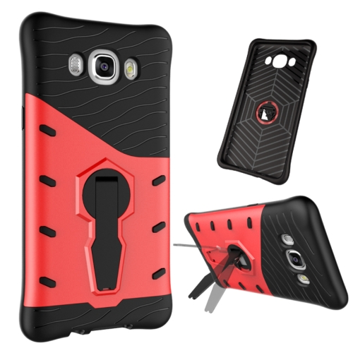 Buy For Samsung Galaxy J7, 2016 / J710 Shock-Resistant 360 Degree Spin Tough Armor TPU+PC Combination Case with Holder, Red for $2.44 in SUNSKY store
