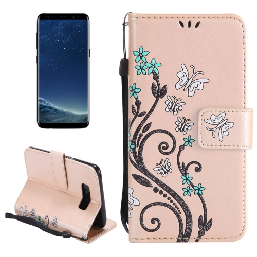 Buy For Samsung Galaxy S8 + / G955 Painted Butterfly Pattern Horizontal Flip Leather Case with Holder & Card Slots & Wallet & Lanyard, Gold for $2.79 in SUNSKY store