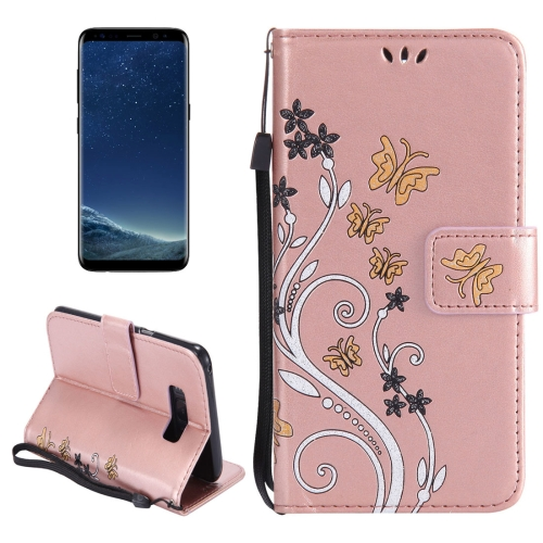 Buy For Samsung Galaxy S8 + / G955 Painted Butterfly Pattern Horizontal Flip Leather Case with Holder & Card Slots & Wallet & Lanyard (Rose Gold) for $2.79 in SUNSKY store