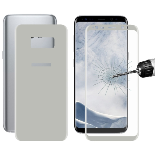 Buy ENKAY Hat-Prince Front + Back for Samsung Galaxy S8+ / G9550 0.26mm 9H Surface Hardness 3D Curved Full Screen Bent Tempered Glass Color Screen Protector, Silver for $6.12 in SUNSKY store
