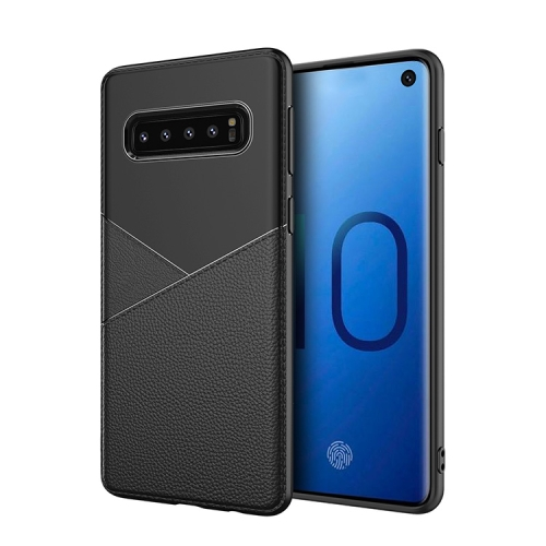 Ultra-thin Shockproof Soft TPU + Leather Case for Galaxy S10 (Black)